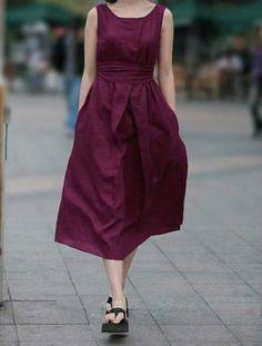 European Womens Fashion BOHO Loose Sleeveless Casual Linen Dresses With Belt Linen Dresses, Cotton Dresses, Linen Skirt, Vestidos Retro, Short Sleeve Dresses, Dresses With Sleeves, Lovely Dresses, Designer Dresses, Fashion Dresses
