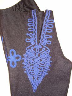 Detail zdobení předního dílu pánských kalhot - nohavic, Bánov.  Folk clothing from Bánov (Czech Republic).
