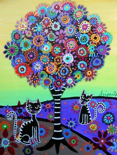 whimsical art | ... CARTERA TURKUS - 2 Cats Whimsical Fine Art Prints and Posters for Sale