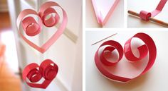 Paper heart garland - Cut the paper into long strips, fold them in half and with the help of a pencil, roll up the strip until just before reaching the half. Use double stick tape to sandwich the thread between the two halves of the curled tops and string the heart garland together from the bottom up.