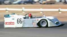 Vic Elford at the wheel of the Chaparral 2J at speed. By Riverside, the 2J had evolved, but the Rockwell 2-stroke fan engine was proving to be very unreliable. If the car had not been banned at the end of the 1970 season, it is likely that an alternative to the Rockwell engine would have been found. Karl Ludvigsen photo.