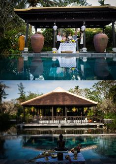 A double poolside Buddhist blessing for two generations, in tropical paradise.
