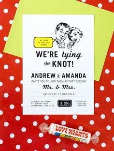50s Retro Printable Wedding Invitation No. 2 by 3EggsDesign