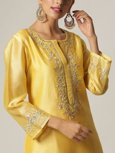 The Loom- An online Shop for Exclusive Handcrafted products comprising of Apparel, Sarees, Jewelry, Footwears & Home decor. Kurti Embroidery Design, Hand Embroidery Dress, Embroidery Neck Designs, Embroidery On Kurtis, Embroidery Fashion, Creative Embroidery, Neck Designs For Suits, Neckline Designs, Kurti Neck Designs