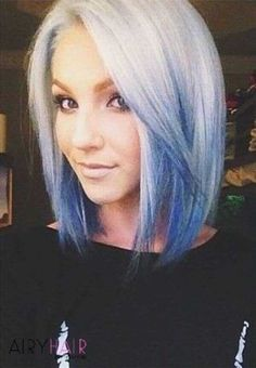 Short White to Blue Reverse Ombre Hair♡ - ombre Haar White Ombre Hair, Reverse Ombre Hair, Ombre Hair Color, Blonde And Blue Hair, Ash Ombre, White Blonde, Purple Ombre, Angled Bob Haircuts, Short Haircuts