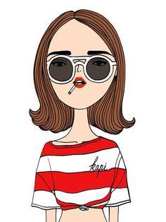 Smoking Gal illustration by Kapi *