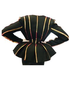 Back of the jacket,     seams go inwards towards the waist and the piping enhances the silhouette