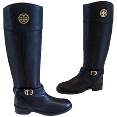 Pre-owned Tory Burch Teresa Riding Size 7 New Black Boots ($340) ❤ liked on Polyvore featuring shoes, boots, black, tory burch boots, riding boots, leather riding boots, black leather boots and equestrian boots