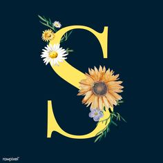 Letter s with blossoms Free Vector Flower Background Wallpaper, Sunflower Wallpaper, Flower Backgrounds, Alphabet Wallpaper, Name Wallpaper, Flower Pattern Drawing, Wallpaper Fofos, Fall Clip Art, David Zinn