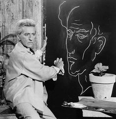 Jean Cocteau and his self-portrait by Lucien Clergue