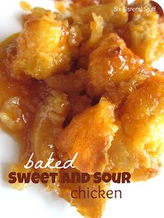 Baked Sweet and Sour Chicken. Her husband didn't believe she had made it herself - he thought it was tlakeout. Sounds like one I need to try! #recipe #chicken