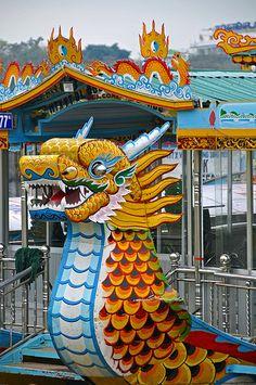 tourist dragon boats, Perfume River, Hue, Vietnam