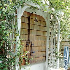 Define Space for an Outdoor Shower - Fresh-Air Outdoor Bath Showers for Beach Houses - Coastal Living