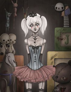 8x10 fine art print - painting of a creepy doll in haunted dollhouse - Victorian Gothic - Lolita inspired artwork by MeganMissfit on Etsy https://www.etsy.com/listing/102442973/8x10-fine-art-print-painting-of-a-creepy