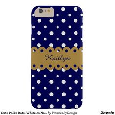 Cute Polka Dots, White on Navy/Gold, Personalized Barely There iPhone 6 Plus Case