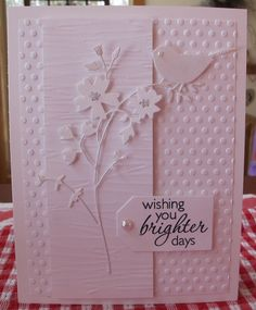 handmade card ... monochromatic  pink ... gorgeous flower die cuts with bird ... layers ... embossing folder texture ... beautiful card!