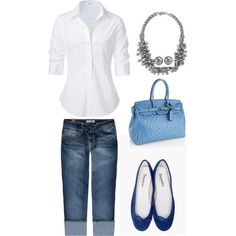 Simple white button up, jean bermuda shorts, blue flats, light blue purse, and statement necklace.