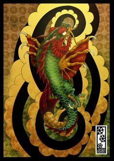 koi dragon colored by tylerrthemesmer on DeviantArt Koi Fish Tattoo Forearm, Koi Dragon Tattoo, Carp Tattoo, Dragon Koi Fish, Dragon Art, Koi Fish Drawing, Fish Drawings, Tattoo Pain, Tattoo Photography