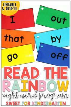 Teaching sight words in preschool, kindergarten, and first grade can be super fun with these rainbow sight word activities! Click the pin to check out this editable sight word program for teaching your young learners to recognize their list of 100 words. Teaching Sight Words, Sight Words List, Sight Word Games, Sight Word Activities, Kindergarten Centers, Preschool Kindergarten, Literacy Centers, Word Program, Phonological Awareness