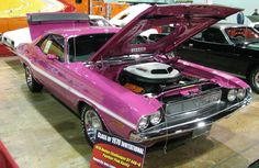 Of the 76,935 Challengers made in 1970, only 90 are known to be Panther Pink. Of the 1,640 Challenger R/T two-door hardtops built with the 440 Six Pack, just five pink versions are known to exist today, according to Chrysler authority Galen Govier. Although the Shaker hood is rare on any Challenger, all five pink 440 Six Pack cars were outfitted with it.