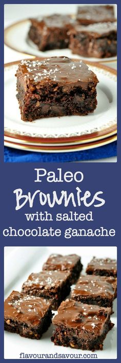 Paleo Brownies with Salted Chocolate Ganache. A fudgy but cake-like brownie topped with an easy-to-make salted chocolate ganache. Dessert Sans Gluten, Paleo Dessert, Gluten Free Desserts, Gluten Free Recipes, Dessert Recipes, Passover Recipes, Paleo Sweets, Healthy Desserts, Real Food Recipes