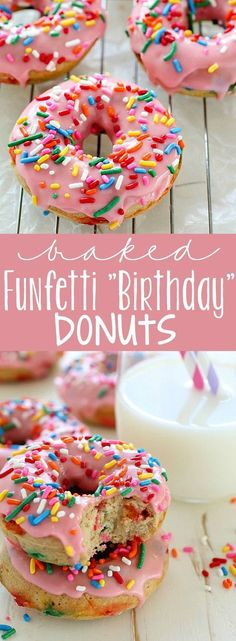 Baked Funfetti Donuts aka Birthday Donuts because it's MY BIRTHDAY! These homemade donuts are made with healthier ingredients and baked. Only 132 calories per donut and every bite has fun rainbow sprinkles! Baked Donut Recipes, Baked Doughnuts, Baking Recipes, Dessert Recipes, Donuts Donuts, Baking Desserts, Delicious Donuts, Delicious Desserts, Yummy Food