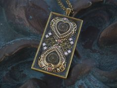 Mosaic Pendant Necklace 40 by mjirvine on Etsy, $42.00