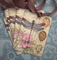 Dragonfly Tags  Nature Tags   Bird Egg Flower by CreativeVisions, $3.00