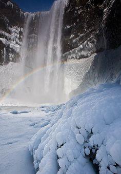 ✯ Skógafoss waterfall in snow, Iceland
