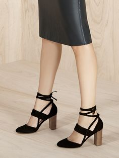 Suede block heel pumps with chic ankle ties | Sole Society Isabeli
