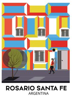 Colorful travel poster from Rosario Santa fe Argentina perfect for you Wall . Argentina Travel, Travel Illustration, Vintage Travel Posters, Bolivia, Poster Wall, Yorkie, South America, Costa Rica, Cities