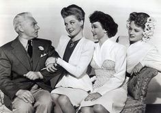 "Charlie Ruggles, Ann Sheridan, Jane Wyman, and Alexis Smith in ""The Doughgirls"""