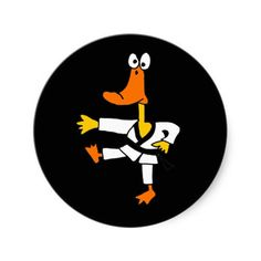 Funny Martial Arts Karate Duck Stickers #ducks #karate #funny #stickers #zazzle #petspower