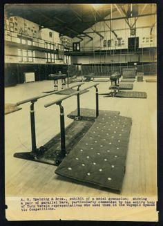 """""""A. G. Spalding and Bros., exhibit of a model gymnasium; showing a pair of parallel bars, particularly commended by the entire body of Turn Verein representatives who used them in the Olympic Gymnastic Competitions."""""""