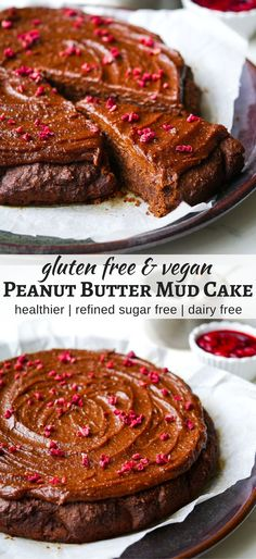 Healthy Peanut Butter Mud Cake (vegan, gluten free, grain free, dairy free, egg free) - recipe via Nourish Everyday