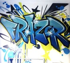children / teen / Kids Bedroom Graffiti mural - hand painted Frazer Blue graffiti bedroom design #graffitibedroom #interior design
