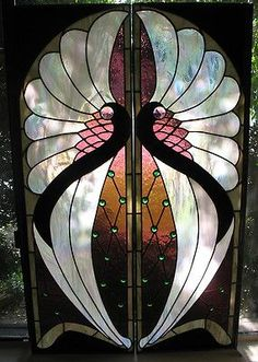 Two Pane Large Art Nouveau Stained Leaded Glass Window 54 3 4 x 34 7 8