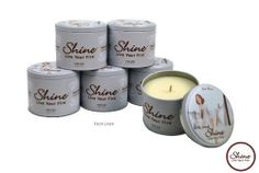Shine Candles Premium Soy Scented Candles Fresh Linen 6 Count (6.2oz.) by ShineCandles. $79.95. Finest Soy Coconut Plum blend crafted to ultimetly emit the 12% essence, born of the highest quality fragrance available. White sheer floral,cinnamon,rosemary,light musk,mandarin orange touch. Custom collectible tin, delightfuly designed in retro motif. Long lasting burn time of 40 hours. Earth friendly ,responsibly made and packaged in the USA. Celebrate the sense of self...