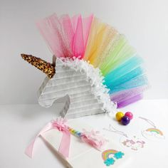 Pinata idea for a unicorn party[ Rainbow Unicorn Party, Unicorn Birthday Parties, Birthday Fun, First Birthday Parties, First Birthdays, Unicorn Party Hats, Rainbow Pinata, Pyjama Party Fille, Pyjamas Party