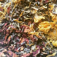 Mixing a batch of relaxing bath teas. I just love the scent and all those colors!
