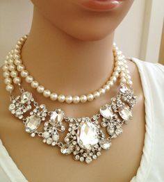 chunky jewelry | Necklace, Crystal Bib Necklace, Hollywood, Chunky, Victorian Necklace ...