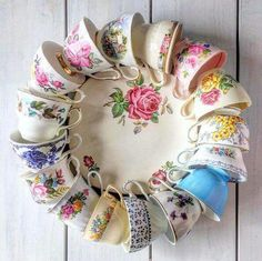 Teacup wreath - I must have one!