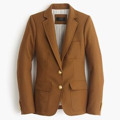 """Slim and tailored, our newest blazer is made from wrinkle-resistant wool from Comero, a family-owned mill in Italy. We finished it with gold buttons, patch pockets and a contrast felt collar that looks even better popped... In a word? Genius. <ul><li>Tailored for a fitted look.</li><li>Body length: 25 1/2"""".</li><li>Sleeve length: 30 5/8"""".</li><li>Hits at hip.</li><li>Wool.</li><li>Notch collar.</li><li>Button closure.</li><li>Pockets.</li><li>Lined.</li><li>Dry…"""