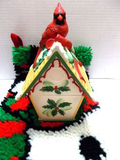 #Lenox Winter Greetings #CardinalBirdhouse Candy Dish Trinket