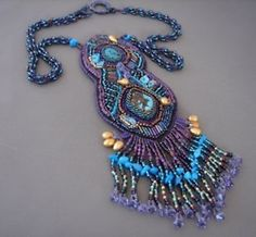 blue and purple beaded