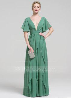 [R$ 362,23] Vestidos princesa/ Formato A Decote V Longos Tecido de seda Vestido de festa com Beading Babados em cascata