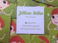 Adorable sqaure business cards by illustrator Jillian Stiles! We love the cartoon playfulness. These creative business cards will stand out! Stiles, Square Business Cards, Tool Design, Design Your Own, Creative Business, Templates, Illustrator, Cartoon