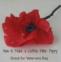 How to Make Coffee Filter Poppies- Great for Veterans Day and Memorial Day                                                                                                                                                                                 More