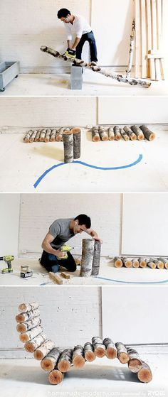Modern DIY Furniture: Log Lounger | Inexpensive DIY Backyard Furniture Idea by DIY Ready at diyready.com/diy-projects-backyard-furniture/