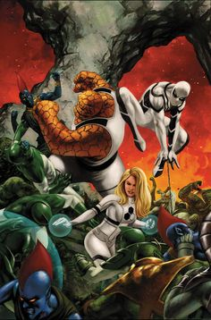 ✭ The Invisible Woman, The Thing and Spider-Man by Steve Epting